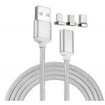 Magnetický opletený nabíjecí a datový kabel 3v1 USB-C, Lightning, MicroUSB koncovky